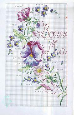 0 point de croix grille et couleurs de fils coeur fleurs bonne fete maman 1