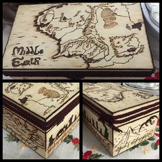 Customized Wooden Box - Lord of the Rings - Middle Earth Map - Completely Handmade Wood Burning by GigaLab