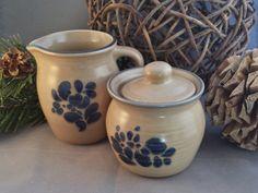 Pfaltzgraff Pottery Creamer and Sugar Bowl - Stoneware Breakfast Set - Folk Art Pattern by GumberryGlass on Etsy