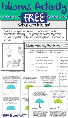 FREE idioms activity from Natalie Snyders, SLP
