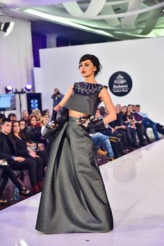 My dress at Bucharest Fashion Week  Designer: Marina Melacca, Sara Cucci, Matteo Seclí Leather, neoprene, mesh, catwalk, black, studs, collar , handbag, haute couture