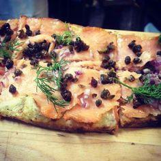 Grape & Vine's Salmon flatbread with dill cream and capers. via @grapeandvinenyc on Instagram