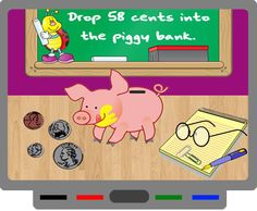 Piggy Bank coin counting game for SMART Board