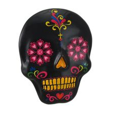 Black And Colorful Day Of The Dead Sugar Skull Wall Hanging * Click on the image for additional details. (This is an affiliate link) #WallSculptures