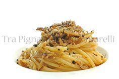 Spaghetti con carciofi croccanti, bottarga di tonno, crumble di pane alle olive taggiasche e menta romana   Tra Pignatte e Sgommarelli