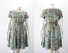 XXL Vintage Dress  1980s Floral Graphics $39.00 #xxlvintagedress #plussize by SIZEisJUSTaNUMBER
