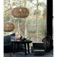 Rund Bambuslampeskærm natur 48cm-00