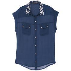 Camisa bordado navy azul