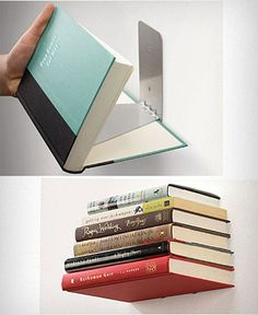 No need for a bookcase here, these handy wall mount contraptions turn your stack of books into bookshelves themselves.  It's kind of smart.