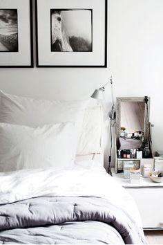 black + white horse art in bedroom