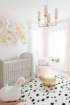 Baby Girl Nursery design, black and white spotted rug, gold tuft, light pink walls // Palm Beach Lately Gold Nursery, Nursery Room, Swan Nursery Decor, Glitter Nursery, Nursery Paint Colors, Blush Nursery, Themed Nursery, Baby Bedroom, Girls Bedroom