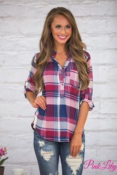 This sweet plaid blouse is the perfect way to celebrate the start of fall! Winter Fashion 2016, Fall Fashion Trends, Autumn Fashion, 2016 Winter, Winter Wear, Fashion Tips, Plus Size Womens Clothing, Plus Size Fashion, Clothes For Women