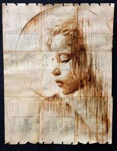 Eski Kağıt ve Kahveden Yapılmış Portreler - Michael Aaron Williams; 1920'lerden kalma defterleri kullanarak, mürekkep ile karıştırılmış tuval ve kahve ile bu güzel portre görüntülerini oluşturmuş.