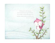 "art print - bird - branch - bird on a branch - pink - spring - summer - illustration -""SWEET SERENITY!"""