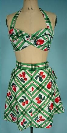 Vintage fruit print playsuit