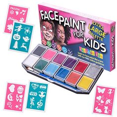 Face Paint Kit with 30 Stencils XXLarge Best Quality Face Painting Set for Kids 12 Colors Glitter Gel 3 Brushes  Halloween Party Pack FREE Online Guide Cosmetic Grade NonToxic Boys  Girls * See this great product.