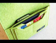 Wool Felt Travel Pouch passport case cellphone by AlexMLynch