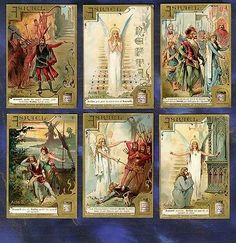 Serie 6 Chromos Liebig set S316 Asrael nefta opera Franchetti Old Trade Card