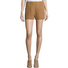 Joie Lautaro Suede Shorts ($131) ❤ liked on Polyvore featuring shorts, honey, suede shorts, relaxed fit shorts, joie, joie shorts and relaxed shorts