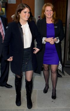 Princess Eugenie of York and Sarah Ferguson, Duchess of York arrives at the Teenage Cancer Trust specialist outpatient unit at University College Hospital on 26 Feb 2013