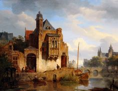 Cornelis Springer (Amsterdam 1817-1891 Hilversum) Activity along a Dutch city canal - Dutch Art Gallery Simonis and Buunk Ede, Netherlands.