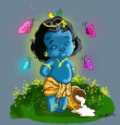 Bal Krishna, Krishna Art, Lord Krishna, Krishna Drawing, Hindu Mantras, Smurfs, Watercolour, Paintings, God
