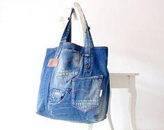 sac en denim beaucoup de poches avec insigne de paix jeans