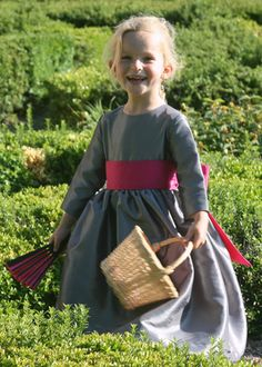 Grey and fuchsia flower girl dress by littleeglantine.com  #wedding