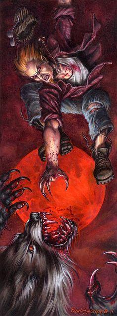 Gangrel vampire attacks a Crinos-form Garou (werewolf).
