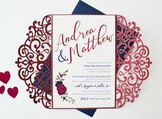 Burgundy Laser Cut Wedding Invitation, Marsala and Navy Wedding Invitation, Burgundy and Navy Invitation, Autumn Wedding Invitation, Winter by SLAYandMAKER on Etsy