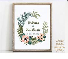 Wedding Cross Stitch Patterns, Modern Cross Stitch Patterns, Alphabet And Numbers, Cross Stitching, Wedding Gifts, Pattern Design, Print Patterns, Floral Wreath, Quilting