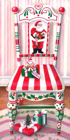40 Top Diy Painted Chair Designs Ideas Try - Page 44 of 47 Christmas Chair, Noel Christmas, All Things Christmas, Vintage Christmas, Whimsical Christmas, Winter Christmas, Christmas Projects, Christmas Crafts, Christmas Decorations