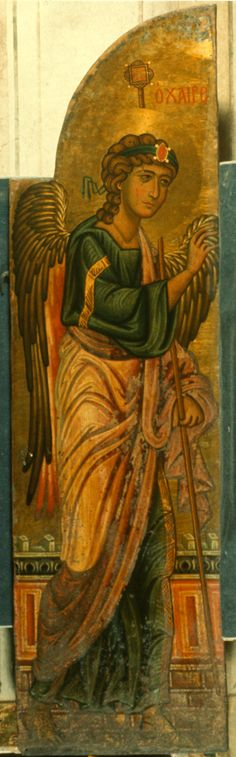 """""""Annunciation (royal doors),"""" The Sinai Icon Collection Byzantine Icons, Byzantine Art, Religious Icons, Religious Art, Angel Spirit, Angel Drawing, Icon Collection, Orthodox Icons, Angel Art"""
