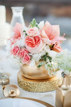 #Peach #Gold Wedding Inspiration | On SMP: http://www.StyleMePretty.com/utah-weddings/2014/01/07/gold-peach-mother-daughter-bridal-inspiration/ Kristine Curtis Photography