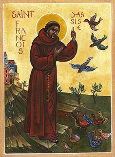 Saint Francis of Assisi blesses his little winged friends (Sainte Francois, Coeur de Christal).