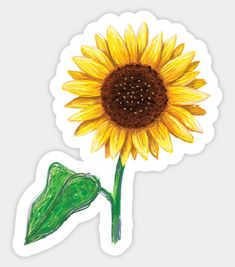 'Sunflower with stem and green leaf sticker' Sticker by MheaBuy 'little sunflower' by stickersnstuff as a Sticker.Shop from unique Flowers Stickers on Redbubble. Diy Stickers, Printable Stickers, Laptop Stickers, Yellow Sunflower, Aesthetic Stickers, Unique Flowers, Transparent Stickers, Sticker Design, Glossier Stickers