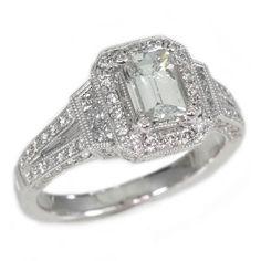 18K White Gold 0.99Ct Emerald Cut Diamond Engagement Ring