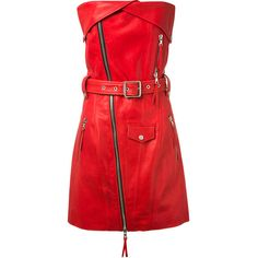 Unravel Red Strapless Leather Dress (€1.323) ❤ liked on Polyvore featuring dresses, red, red dress, genuine leather dress, leather bustier, snap dresses and strapless bustier