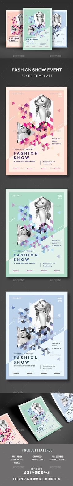 Fashion Show Flyer Template PSD, AI Illustrator. Download here: https://graphicriver.net/item/fashion-show-flyer/17277179?ref=ksioks