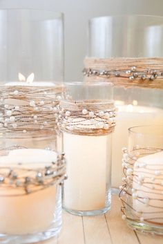 Beautiful, yet these are simple glasses and candles http://www.camanocatering.com