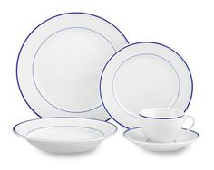 Apilco Tradition Blue-Banded Place Setting. For everyday use.