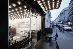 Paris New York Burger Restaurant by CUT architectures // Paris. Love the overhead lights.  mantis ?
