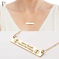 Medical Alert Necklace - Custom Medical ID Jewelry-Personalized Gold Bar-14K Gold Filled-Rose-Sterling Silver-CG286N_1.5X0.25 - Wedding bracelets (*Amazon Partner-Link)