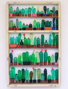 Plants Made From Recycled Plastic Bottles by Artist Veronika Richterová - Coole Idee: Kakteen aus Plastikflaschen. Artist Veronika Richterová Der DIY-Wahnsinn (Do it your - Pet Plastic Bottles, Plastic Art, Plastic Animals, Melted Plastic, Recycled Art Projects, Recycled Crafts, Craft Projects, Diy Crafts, Photo Projects