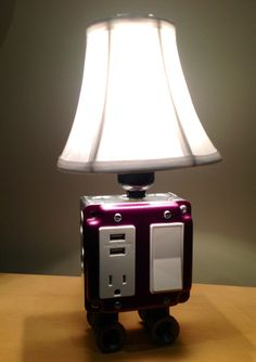 Table or Desk lamp with USB charging station by BossLamps on Etsy, $92.00