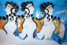 The Blue Ladies, Fresco from Knossos, 2nd millenium BC, Archaeological Museum in Heraklion, Crete (Greece)