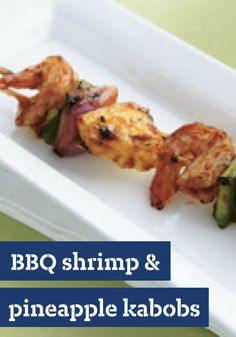 BBQ Shrimp  Pineapple Kabobs -- This simple shrimp and fresh pineapple kabob recipe is brushed with BBQ sauce and ready to savor in less than 20 minutes.