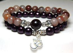 About the Bracelet Garnet and marble stone create a romantic feel to this beautiful Om Charm Bracelet Set. Bracelet Details: This beautiful garnet bracelet is made with: ♥ 10mm Garnet focal bead ♥ 8mm