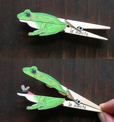 Clever clothespin crafts - frog grenouille pince à… Kids Crafts, Projects For Kids, Art Projects, Arts And Crafts, Frog Crafts Preschool, Pond Crafts, Jungle Crafts, Preschool Songs, Preschool Science