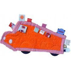 Doudou bebé muy masculino. Autobus lleno de etiquetas..Una buena idea de regalo para recién nacidos y si son 2 con DTO. en nuestra tienda online para  #twins #gemelos #mellizos